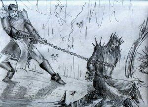 Tulkas_drags_Melkor_out____by_Skullbastard