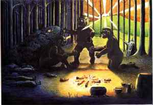 J.R.R._Tolkien_-_The_Three_Trolls_are_turned_to_Stone_(Colored_by_H.E._Riddett)