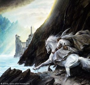 John_Howe_-_Gandalf_Approaches_the_Guarded_City