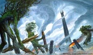 John_Howe_-_The_Ents_Destroy_Isengard